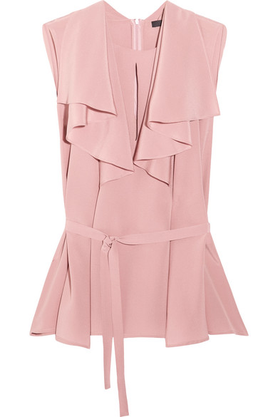 Etro - Ruffled Silk Crepe De Chine Blouse - Pink