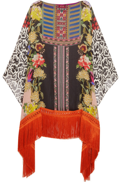 Etro - Fringed Printed Silk-georgette Poncho - Orange