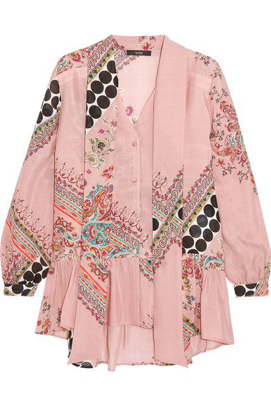 Etro - Pussy-bow Printed Silk Blouse - Pink