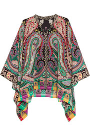 Etro Asymmetric printed silk crepe de chine top