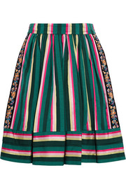 Etro Striped embroidered poplin skirt