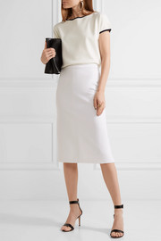 Pleated stretch-wool midi skirt