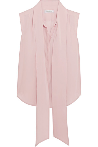 Max Mara - Pussy-bow Washed-silk Blouse - Pink