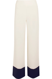 Two-tone crepe wide-leg pants