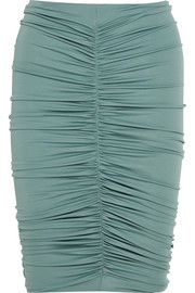 Caliga ruched stretch-jersey skirt