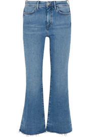 Lou frayed high-rise flared jeans