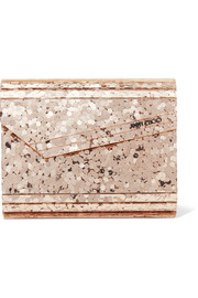 Jimmy Choo Candy leather-trimmed glittered acrylic clutch