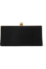 Celeste glittered canvas clutch