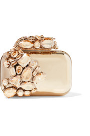 Cloud crystal-embellished metal clutch
