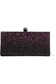 Celeste small dégradé glittered satin clutch