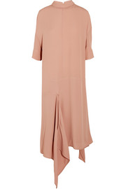 Marni Asymmetric washed-crepe midi dress