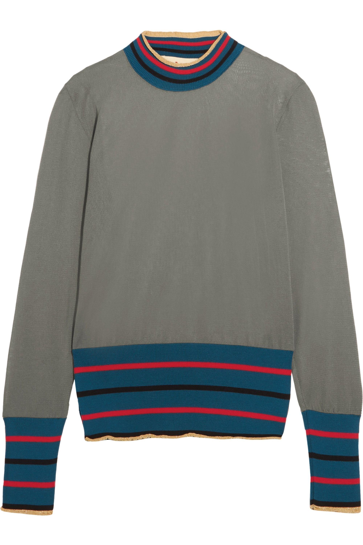 Marni Metallic-trimmed mesh sweater