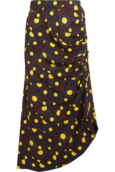 Marni - Asymmetric Printed Crepe Midi Skirt - Yellow