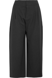 Cropped pleated wool-twill wide-leg pants