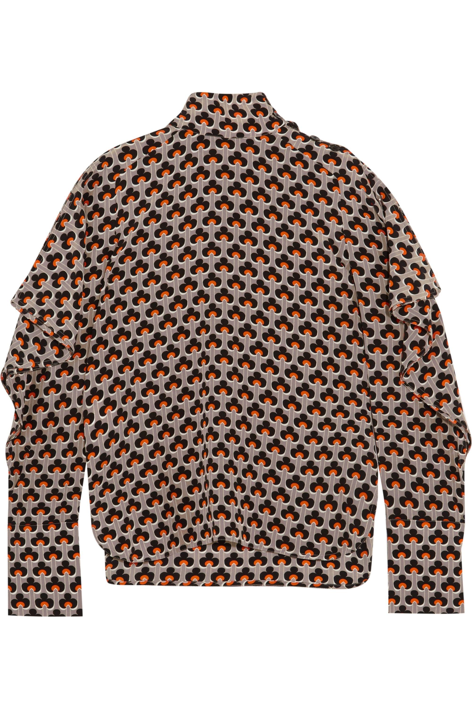Marni Cutout printed silk crepe de chine turtleneck top