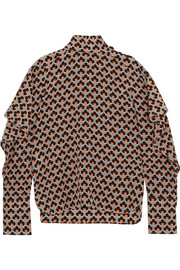 Marni Cutout printed silk crepe de chine turtleneck top
