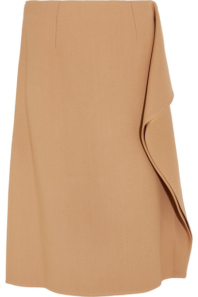 Marni - Ruffle-trimmed Crepe Midi Skirt - Camel