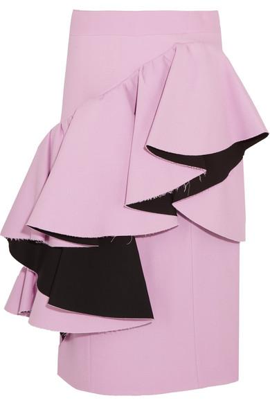 Marni - Frayed Ruffled Crepe Midi Skirt - Lilac