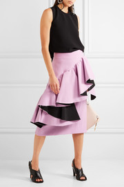 Marni Frayed ruffled crepe midi skirt