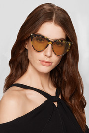Alexander McQueen D-frame tortoiseshell acetate and gold-tone sunglasses