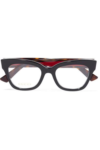 带缀饰板材猫眼光学眼镜 in Black