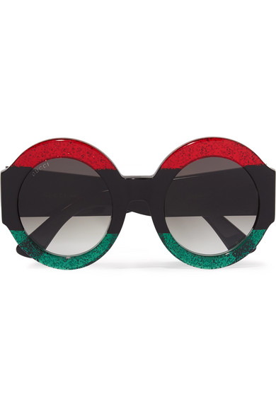 Gucci - Oversized Round-frame Glittered Acetate Sunglasses - Black
