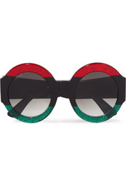 Gucci Oversized round-frame glittered acetate sunglasses