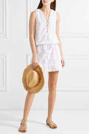 Melissa Odabash Layla lace-up embroidered cotton-poplin mini dress