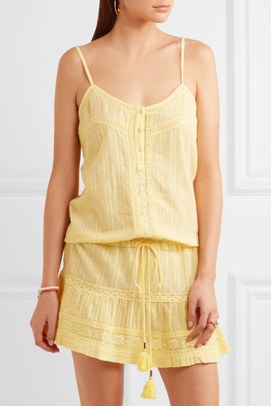 Karen Lace Trimmed Cotton Mini Dress by Melissa Odabash