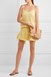Melissa Odabash Karen lace-trimmed cotton mini dress