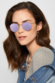 Round-frame gold-tone mirrored sunglasses