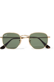 Hexagonal-frame gold-tone sunglasses