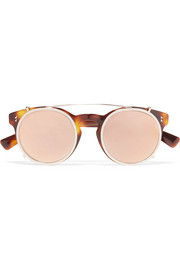 Valentino Embellished round-frame acetate and gold-tone sunglasses