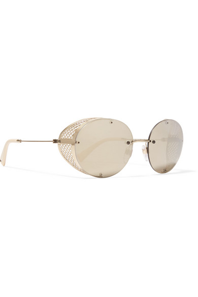 b94b54d7055 Prada Round-frame Gold-tone Mirrored Sunglasses