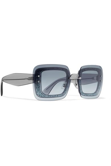 5d4656aba988 Miu Miu | Square-frame glittered acetate sunglasses | NET-A-PORTER.COM