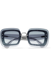 Square-frame glittered acetate sunglasses
