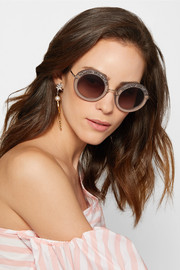 Embellished round-frame acetate sunglasses