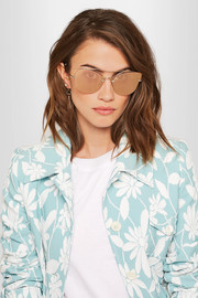 Miu Miu Cat-eye silver-tone mirrored sunglasses