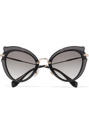 Embellished cat-eye acetate and gold-tone sunglasses