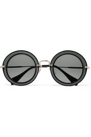 Round-frame acetate, twill and gold-tone sunglasses