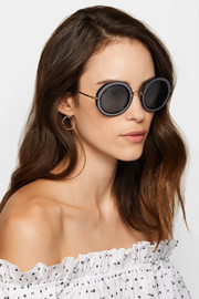 Miu Miu Round-frame acetate, twill and gold-tone sunglasses