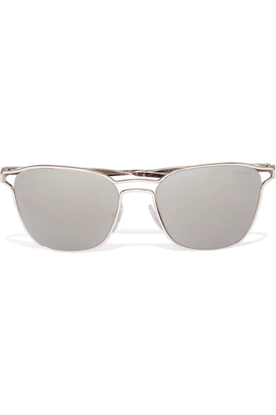 9eb2da2b313 Prada Round-frame Gold-tone Mirrored Sunglasses
