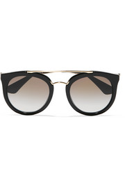 Cat-eye acetate and gold-tone sunglasses
