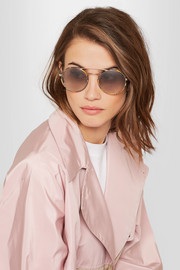 Round-frame tortoishell acetate and gold-tone sunglasses