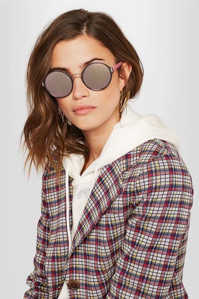 PRADA Round-Frame Acetate And Gold-Tone Mirrored Sunglasses