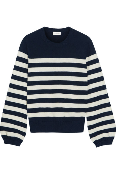 Saint Laurent - Striped Cashmere Sweater - Navy