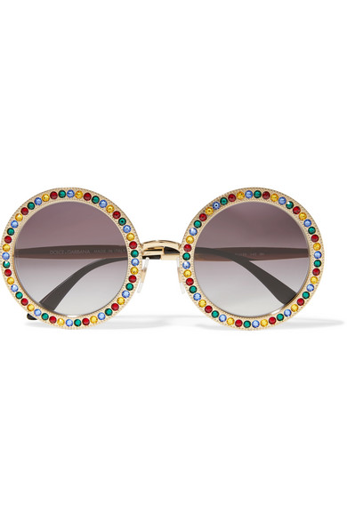 Crystal-embellished round-frame gold-tone sunglasses