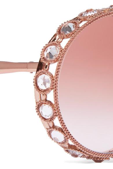 ac834f0c2f4 Dolce   Gabbana. Swarovski crystal-embellished round-frame rose gold-tone  sunglasses.  1