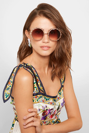Swarovski crystal-embellished round-frame rose gold-tone sunglasses