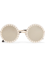 Dolce & Gabbana Round-frame embellished gold-tone mirrored sunglasses